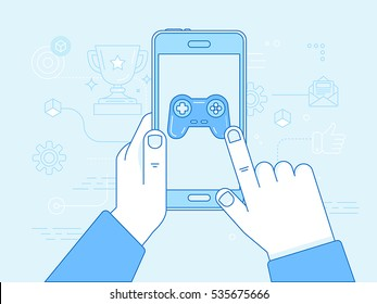 Vector illustration in trendy linear style and blue colors - cybersport and gaming online concept - hands holding mobile phone with game app