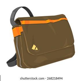 A vector illustration of a trendy shoulder bag. Fashionable bag with flap.