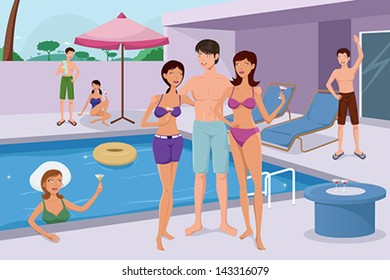 A vector illustration of trendy young people having a pool party