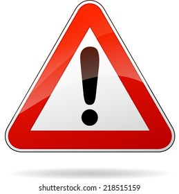 Vector illustration of triangle traffic sign for warning