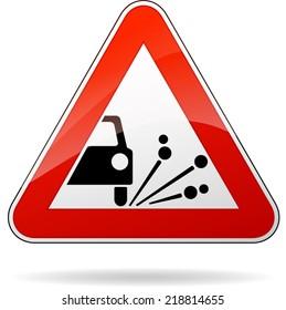 Vector illustration of triangle traffic sign for gravel