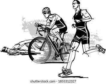 the vector illustration of  triathlon athletes