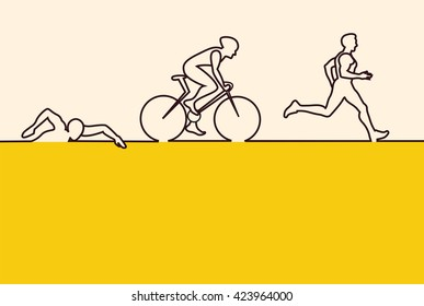 Vector illustration for triathlon competition with running , swimming and cycling men. flat design.