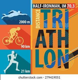 Vector illustration triathlon, flat design.