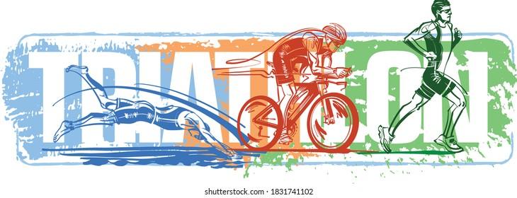the vector illustration of the triathlon logo