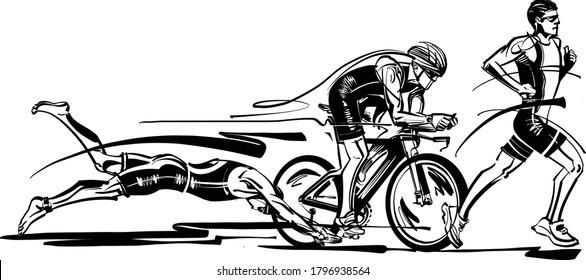 the vector illustration of the Triathlon sport