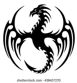 Vector Version Isolated Tattoo Black Dragon Vector De Stock Libre
