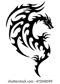 ec41a4faf8502 vector illustration, tribal dragon tattoo design, black and white graphics.