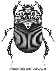 Vector illustration of a tribal totem animal - Beetle - in graphic style