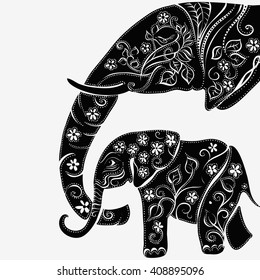 Vector illustration of a tribal totem animal - Elephant - in graphic style. elephant head . Silhouette of an elephant with a flower . Indian elephant. elephant and baby elephant