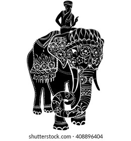 Vector illustration of a tribal totem animal - Elephant - in graphic style. elephant head . . Indian elephant. Elephant with rider