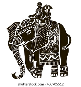 Vector illustration of a tribal totem animal - Elephant - in graphic style. elephant head. Indian elephant.