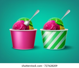 Vector illustration of triple ice cream scoops in striped and pink paper cups isolated ongreen background