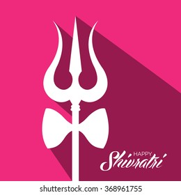 Vector Illustration of Trishul for Shivratri a Hindu festival of the God Shiva.