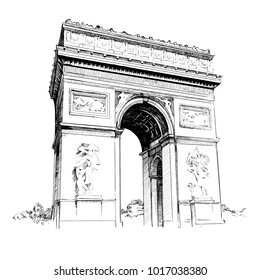 Vector illustration of Triumphal Arch in Paris. The most visited monument in center of city. Landmark of Paris for tourist. Travelling and sighseeing concept