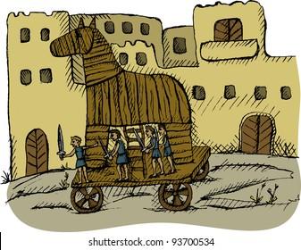 Vector illustration of trojan horse