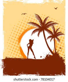 Vector illustration of Tropic back