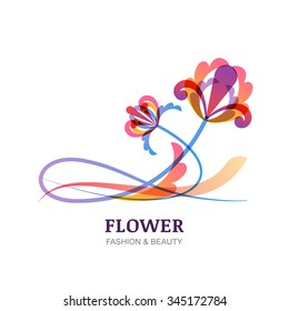 Vector illustration of tropic flowers. Abstract creative orchid logo sign. Trendy design concept for beauty salon, spa, natural organic cosmetics, makeup, visage, floral shop, organic product.