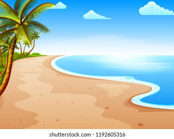 vector illustration of the tropical beach view with the beautiful blue sky and coconut tree
