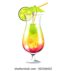 Vector illustration of tropical cocktail on a transparent background