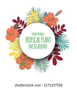 Vector Illustration of  tropical floral bunch with copy space