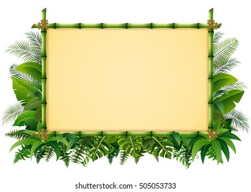 Vector illustration of Tropical floral design background with green bamboo frame