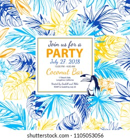 Vector illustration Tropical floral summer party poster with palm beach banana monstera leaves, flowers, bird toucan.. Yellow and blue. Grunge style design print, poster, party invitation, flyer card.
