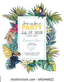 Vector illustration Tropical floral summer party poster with palm beach leaves. Ink splatter grunge style.Textured floral design