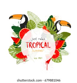 Vector illustration - Tropical floral summer party poster with toucans