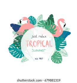 Vector illustration - Tropical floral summer party poster with flamingos