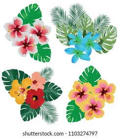 vector illustration of tropical flowers and leaves background