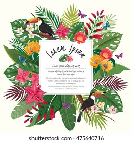 Vector illustration of tropical flowers in summer with birds and butterflies for wedding invitations and birthday cards and background.