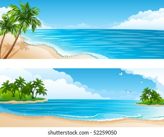 Vector illustration - Tropical landscape with beach, sea and palm trees