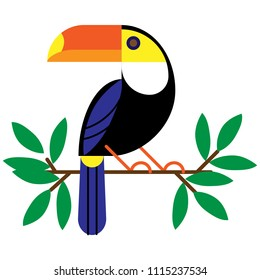 Vector illustration with tropical leaves and bird toucan on a branch.Exotic Bird Isolated on White Background.