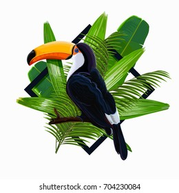 Vector illustration with tropical leaves and bird toucan on a branch on transparent background. Nature wallpaper illustration