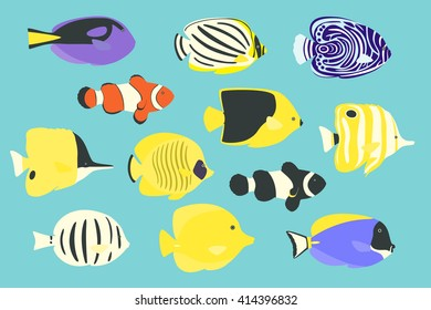 Vector illustration of  tropical marine fishes.