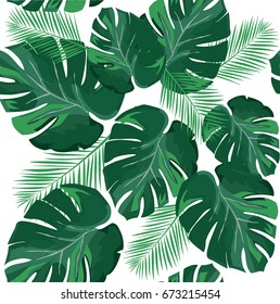 vector illustration of tropical palm leaves background.