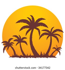 Vector illustration of a tropical sunset and palm trees on a small vacation island paradise.