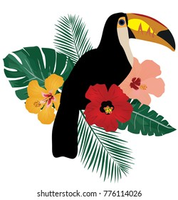vector illustration of a tropical toucan birds with tropical flowers.