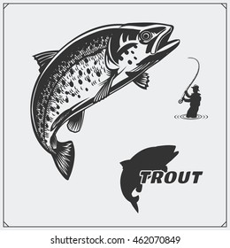 Vector illustration of a trout fish and fishing design elements.