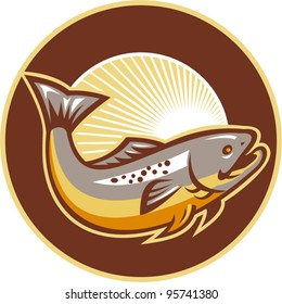 vector Illustration of a trout fish jumping set inside circle with sunburst in background done in retro style.