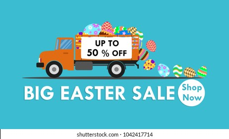 Vector illustration of truck carry colorful easter egg - Easter for sale banner background template