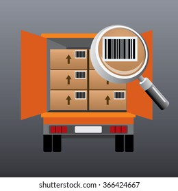 Vector illustration of truck loaded with boxes with bar-codes back view