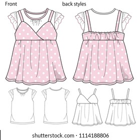 Vector illustration of T-shirt and camisole. Front and back views.
