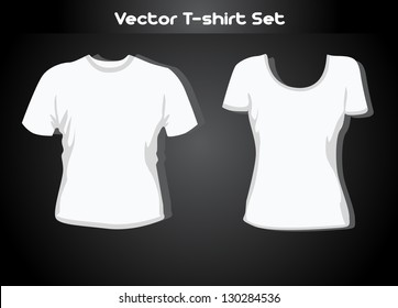 Vector illustration. T-shirt design template (man and woman).