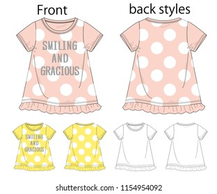 Vector illustration of t-shirt. Front and back views.