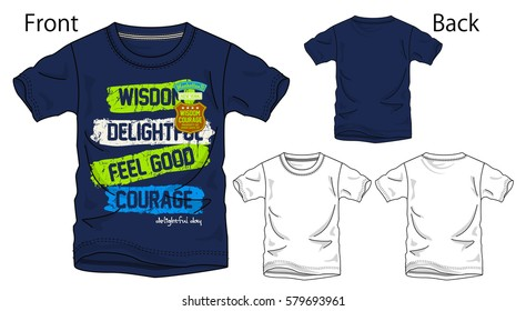 Vector illustration of t-shirt. Front and back views