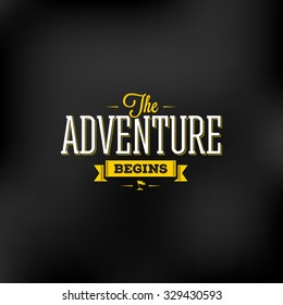 Vector illustration for t-shirt print or poster with quote 'The adventure begins'