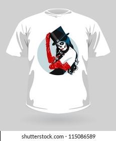 Vector illustration of t-shirt with Sugar Skull girl for Halloween