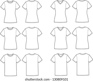Vector illustration of t-shirts. Casual clothes. Different silhouettes and necklines. Front and back views
